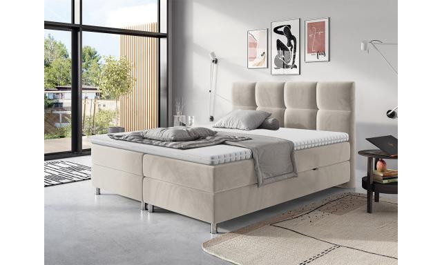 Moderní box spring postel Angela 180x200, béžová