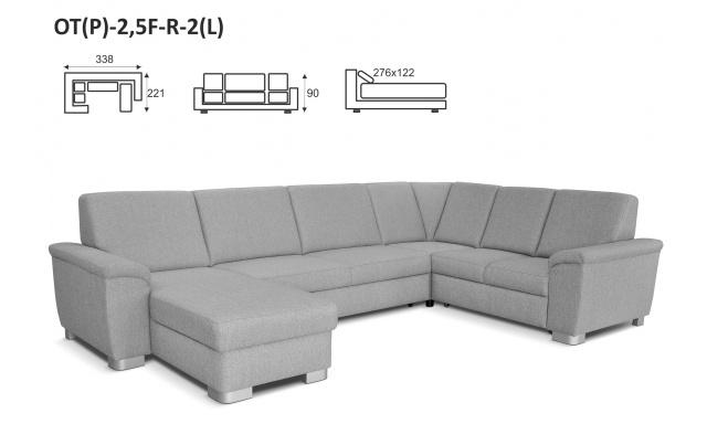 Moderní rohová sedací souprava Viano Maxi 2 - s výběrem potahu!