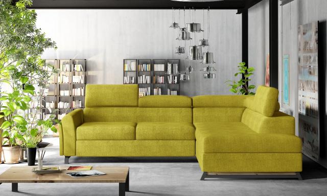 Moderní rohová sedačka Kansas, žlutá Omega