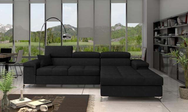 Moderní rohová sedačka Relina, černá