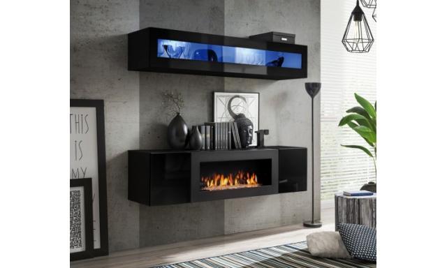 Obývací stěna Faster s BIO krbem, černá