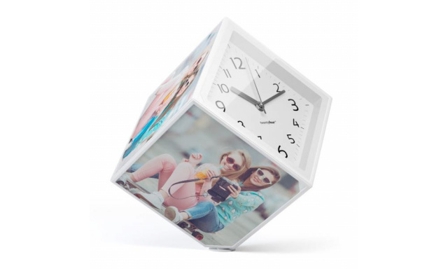 Rotujúce fotokostka s hodinami Balvu Photo-Clock 15x15cm