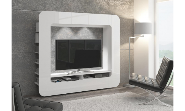 Moderní obývací stěna Media, bílá