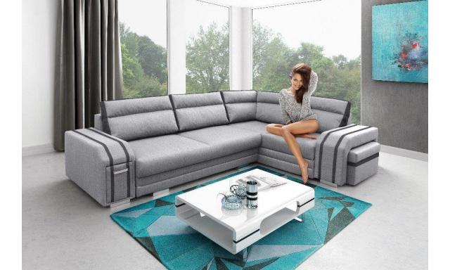 Luxusní rohová sedačka Aventador, šedá