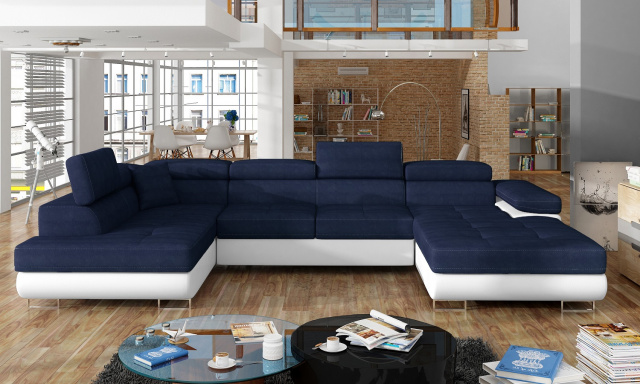 Rohová sedačka ve tvaru U Ramon, bílá/modrá Kronos