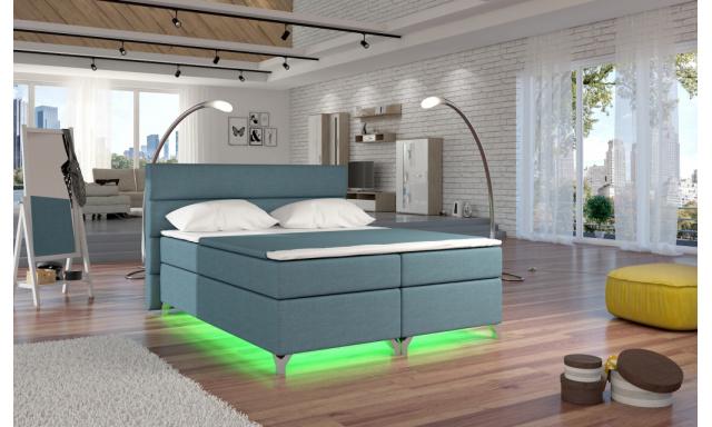 Moderní box spring postel Amadeus + LED 180x200
