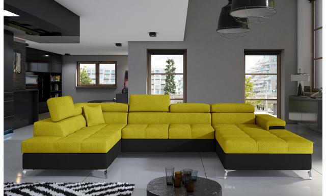 Rohová sedačka ve tvaru U Esperanza, černá/žlutá