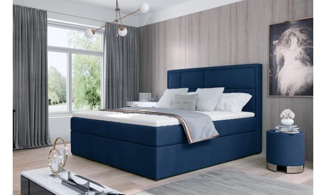 Kvalitní box spring postel Meredit 180x200, modrá Monolith