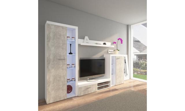 Moderní obývací stěna Rask, beton světlý