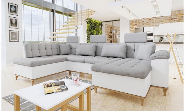 Luxusní sedací souprava Falun, bílá/světle šedá