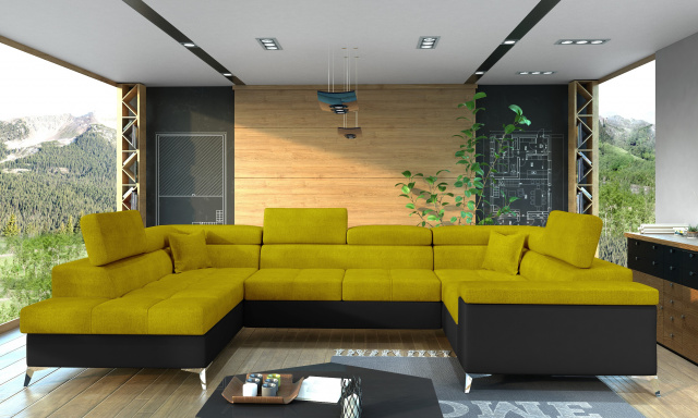 Rohová sedačka ve tvaru U Teuns, černá/žlutá