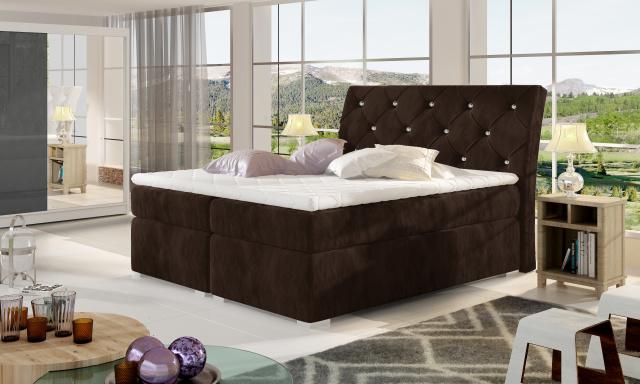 Moderní box spring postel Bralin 160x200, hnědá