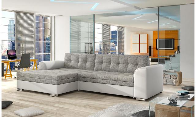 Moderní rohová sedačka Castilo, bílá/šedá