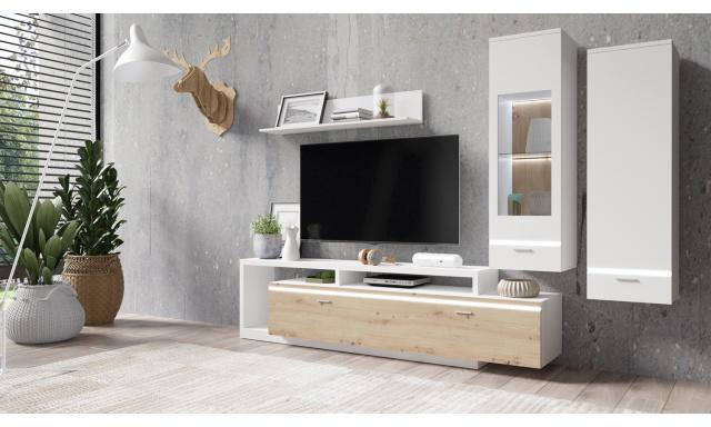 Designová obývací stěna Capri, bílá/artisan + LED