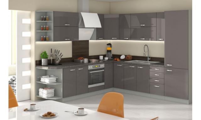 Luxusní rohová kuchyně Gery, šedý lesk