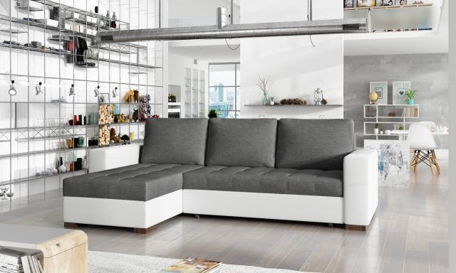 Menší rohová sedačka Natal, bílá/šedá