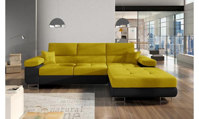 Moderní rohová sedačka Alcudia, černá/žlutá