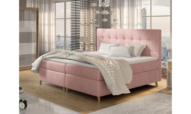 Moderní box spring postel Ariel 180x200, růžová