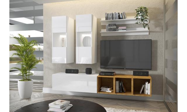 Moderní bytový nábytek Premio D, bílá/bílý lesk