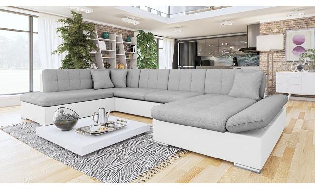 Luxusní sedačka ve tvaru U Bravo, bílá/šedá
