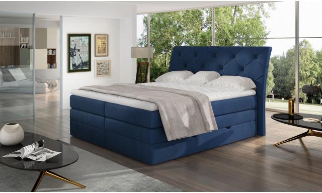 Kvalitní box spring postel Marek 180x200, modrá