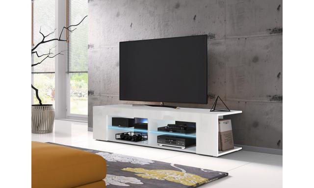 Moderní TV stolek Spine 140, bílý + LED