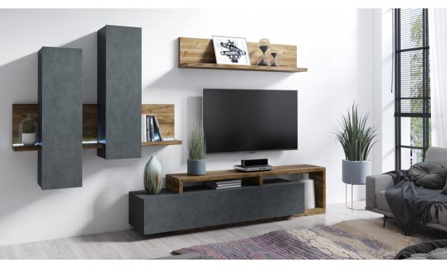 Designová obývací stěna Bigla, Appenzeller/matera + LED