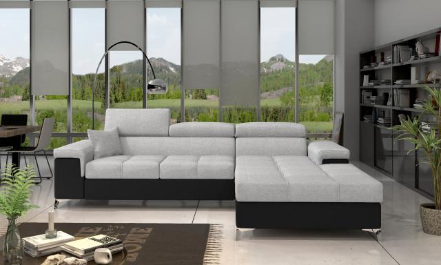 Moderní rohová sedačka Relina, černá/šedá