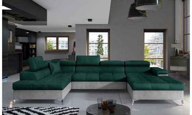 Rohová sedačka ve tvaru U Esperanza, šedá/zelená Monolith