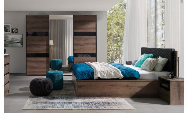 Ložnicový nábytek Drake A, dub monastery/černý lesk