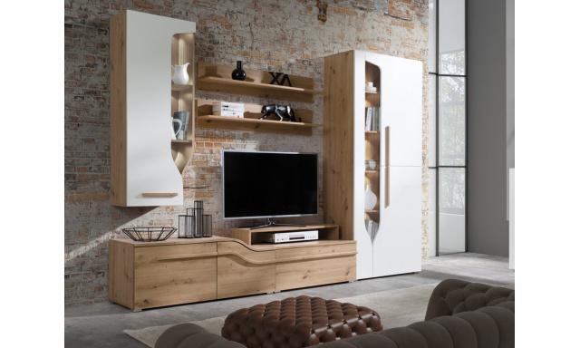 Moderní obývací stěna Paradise C, artisan/bílý lesk