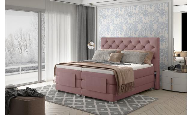 Box spring postel Clif 180x200, růžová, elektrické polohování