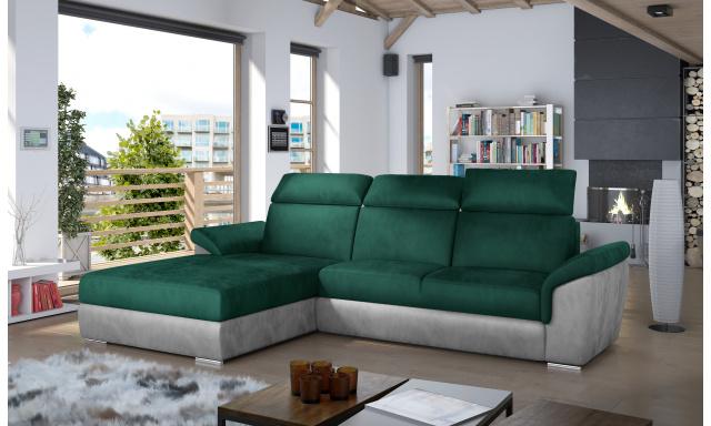 Moderní rohová sedačka Trango, šedá/zelená