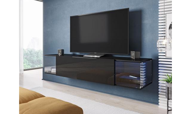 Moderní TV stolek Shock, černá / černý lesk + LED