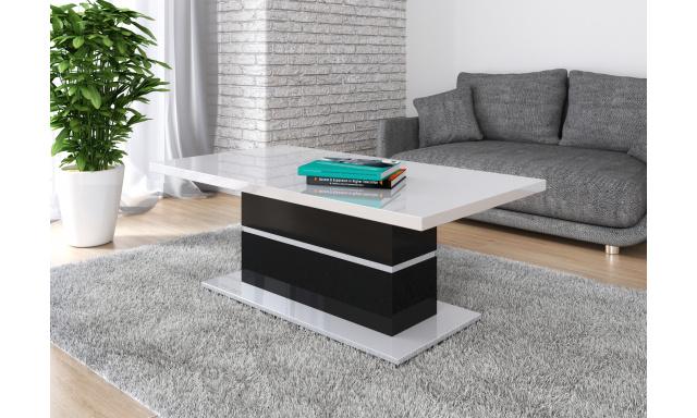 Moderní konferenční stůl Marika, bílý lesk/černý lesk