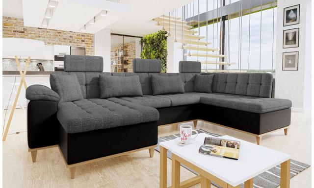 Luxusní sedací souprava Falun, černá/šedá