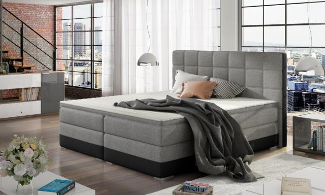 Moderní box spring postel Dolores 180x200, černá/šedá
