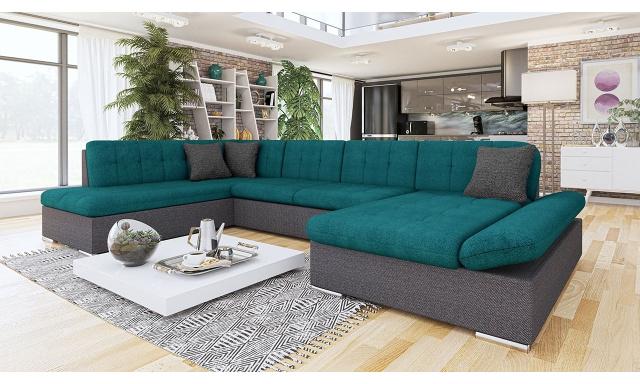 Luxusní sedačka ve tvaru U Bravo, šedá/zelená