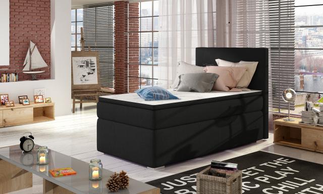 Moderní box spring postel Rimini 90x200, černá