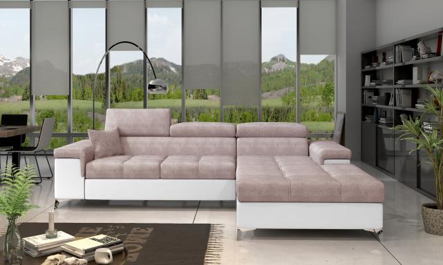 Moderní rohová sedačka Relina, bílá/lososová