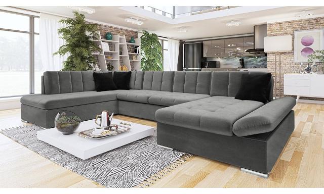 Luxusní sedačka ve tvaru U Bravo, šedá Velvet