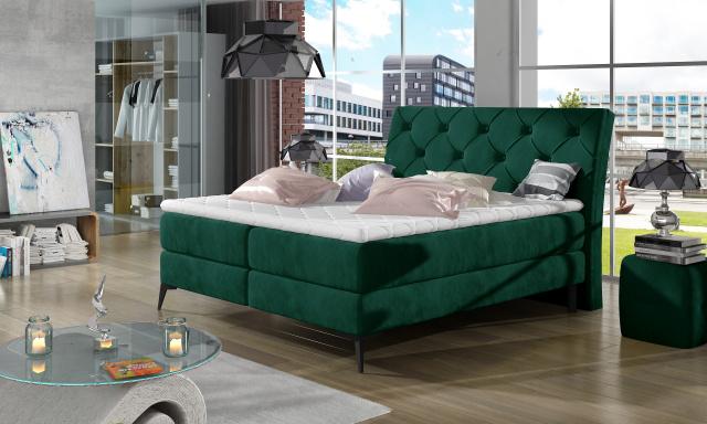 Stylová box spring postel Lenny 180x200, zelená