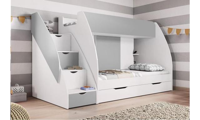 Patrová dětská postel Martina, bílá/šedá
