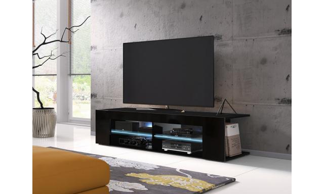Moderní TV stolek Spine 140, černý + LED