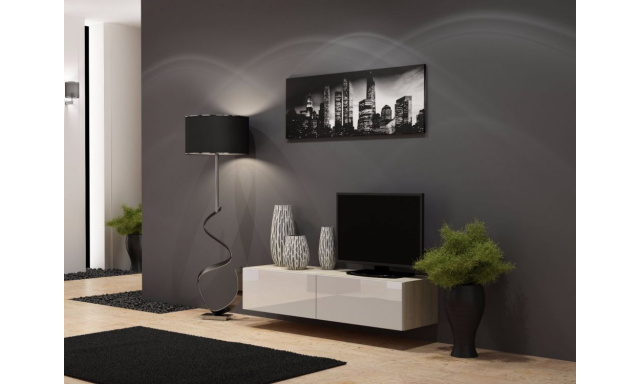 TV stolek Igore 140, sonoma/bílý lesk