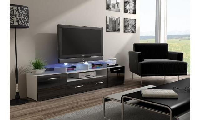 TV stolek Evora, bílá/černý lesk