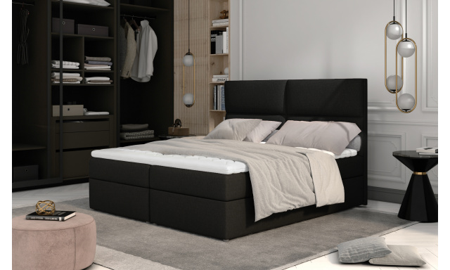 Prodloužená box spring postel Adam 210x185cm, černá