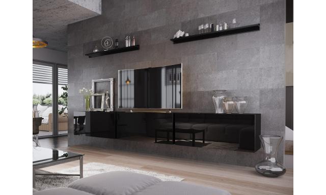 Moderní obývací stěna Bonny 06, černá/černý lesk
