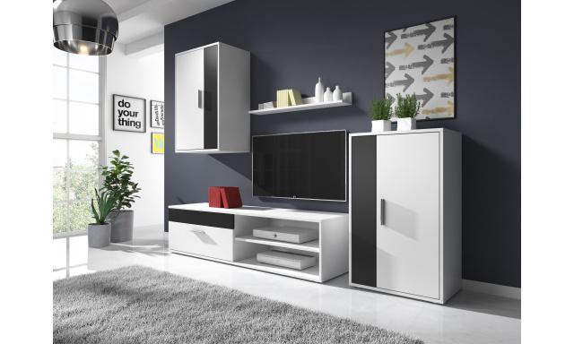 Moderní obývací stěna Toreto, bílá/černá