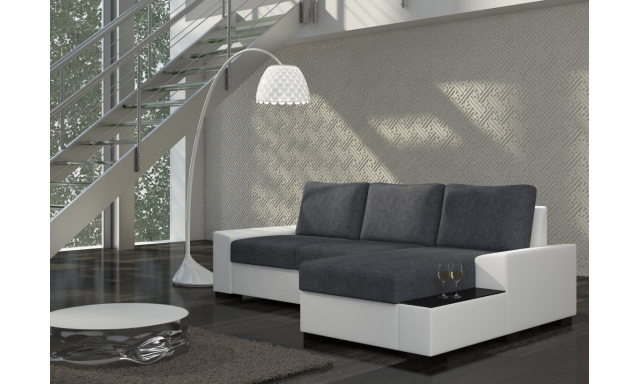 Moderní rohová sedačka Norco, bílá/šedá